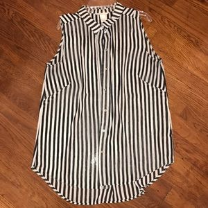 H&M Black And White Striped Sleeveless Top